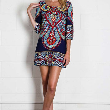 Lighthearted Shift Dress - Navy and Mustard
