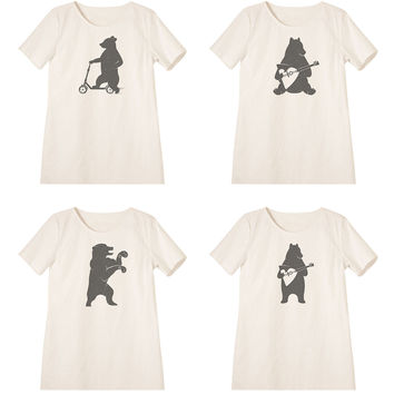 Women Bear is playing music  and driving Printed Vintage Mini Shift Dress WDS_06