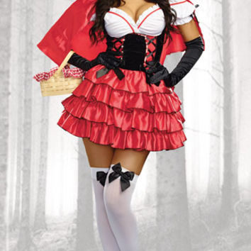 Little Red Damsel Costume, Sexy Red Riding Hood Costume, Little Red Riding Hood Costume