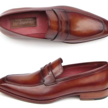 Paul Parkman Men's Penny Loafer Tobacco & Bordeaux Hand-Painted Shoes (ID#067-BRD)