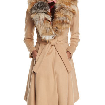 Alice + Olivia Nikita Belted Fox-Collar Dress Coat, Camel