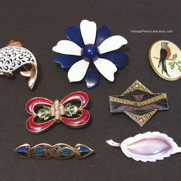 Vintage Enamel Brooch Lot, Vintage Pins, Destash Costume Jewelry, Mixed Brooches