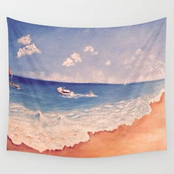 Playing at The Beach Wall Tapestry by Annette Forlenza