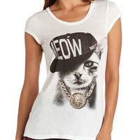 Embellished Cat Graphic Tee: Charlotte Russe