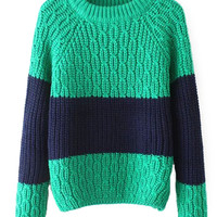 Color Block Chunky Knit Long Sleeves Sweater