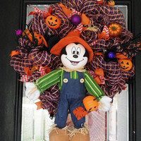 Halloween Wreath, Halloween Door Hanger, Halloween decoration, Mickey Mouse Ready to ship