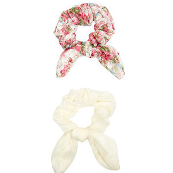 2 Pack Cream Lace Floral Print Hair Scrunchies