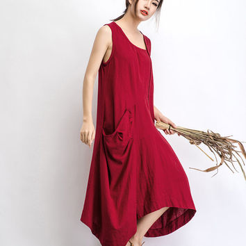 Red Linen Dress - Summer Plus Size Pullover Long Loose-Fitting Maxi Dress (C489)