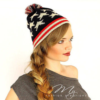 Womens Pom Pom Beanie Hat, Patriotic Knit Winter Hat, Cute Womens Winter Hat, Pom Pom Beanie, USA Winter Hat Head Wrap