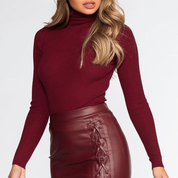 Charlie Lace Skirt - Burgundy