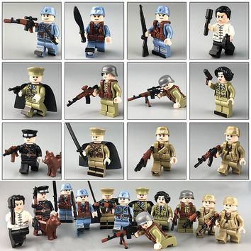 12pcs WW2 Chinese VS Japanese Sino-Japanese War Female Army Soldier Figure Weapon Building Block Compatible LegoING Toy Kid Gift