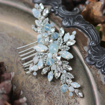 Opal Hair Comb Crystal Headpiece Bridal hair Comb Bride Hair Clip Opal Crystal Hair Comb Blush Crystal Headpiece Bridal Rhinestone Opal Comb
