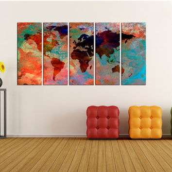 Colorfull world map wall art canvas, extra large wall art, world map wall art, large world map canvas world map wall decor No:6S75