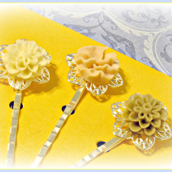 Neutral Filigree Flower Hair Pins  - Ivory, Pink and Taupe - Set of 3 - Hair Bobby Pins - Wedding