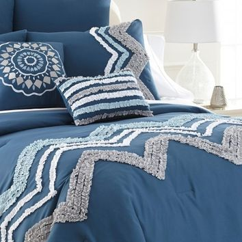 8-Piece Blue Embellished Comforter Set
