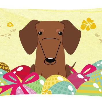 Easter Eggs Dachshund Red Brown Canvas Fabric Decorative Pillow BB6130PW1216