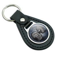 Weight Lifting Dumbbells Black Leather Keychain
