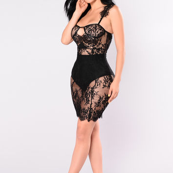 Fancy Lace Dress - Black