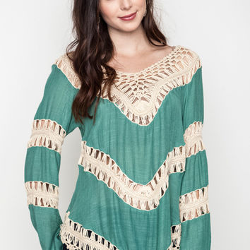 Umgee Bohemian Tunic Colorblock Lacy Crochet Knit Tunic Trim Sweater
