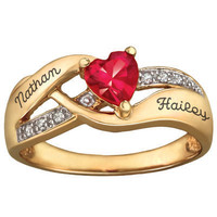 10K Gold-Plated Sterling Silver Couple's Birthstone Hearts Ring with CZ Accents by ArtCarved® (1 Stone, 2 Names)