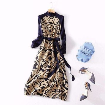 european womens wear  the7 minutes of sleeve the horn sleeve petals printing silk dress