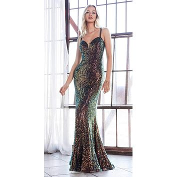 Long Fitted Sequin Gown Opal-Black Deep Sweetheart Neckline Criss Cross Back