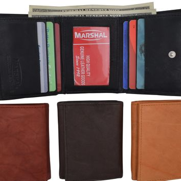 Mens Cowhide Leather ID Card Holder Trifold Wallet with Coin Pouch 2055 CF