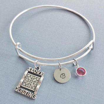Quilting Bracelet, I Love Quilting Jewelry, Silver Bangle, Personalized, Expandable, Charm Bracelet, Birthstone Bracelet, Friend Birthday