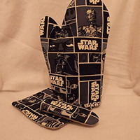 Star Wars Oven Mitt Set, 3 Piece Kitchen Set, Star Wars Oven Mitt with Potholders