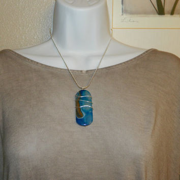 110ct. Blue Mix Stone, Semi Precious, Agate, Pendant, Necklace, Rectangle, Natural Stone, 158-15