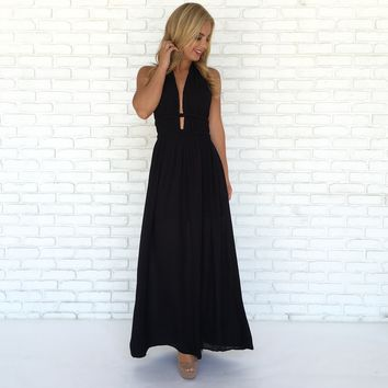 Triple Crown Maxi Dress In Black