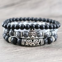 Marble Lion Piped Lava Bracelet Triple Stack