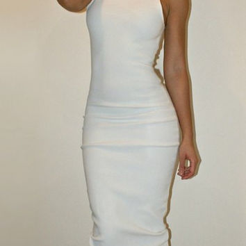 White Turtleneck Sleeveless Maxi Dress