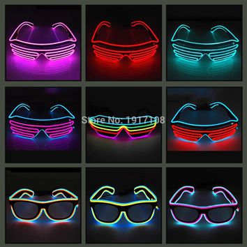 Hot Sales EL Wire Neon LED Light Up Shutter Fashionable Glasses For Party Decoration With Flashing/Steady On EL Inverter