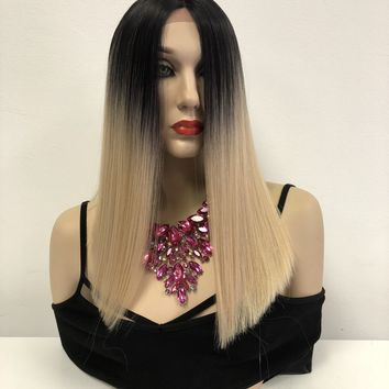 Blond Ombre' Lace Front Wig | Blunt CUT BOB Hair | Kim