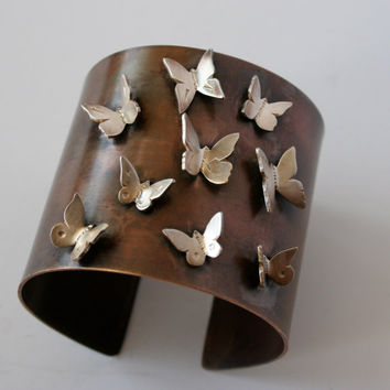 """Ready to ship- 2"""" wide brass and sterling silver butterfly cuff"""