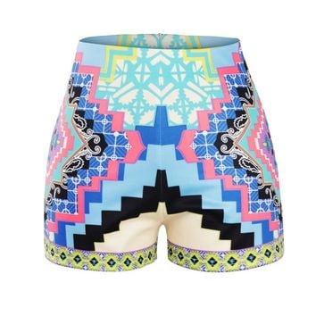 2016 Novelty Summer Style Women's Blue Geometry 3D Printed Short Shorts XS-L Suitable for Slim Girls Casual Trousers Mini Shorts