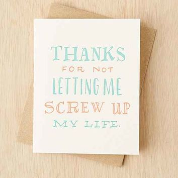 Ladyfingers Letterpress Screw Up Card- White One
