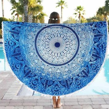 Beach Round Tapestry Bohemian Hippie Pineapple Yoga Mat Lightweight multi-functionTowel Tablecloth Beach Towel 150x150cm