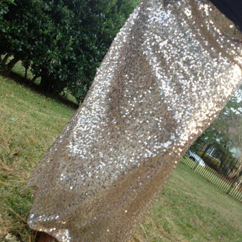 Sequin Maxi Skirt - Rose Gold - Custom Sizes - Bridesmaid Skirt - Hipster Sequin