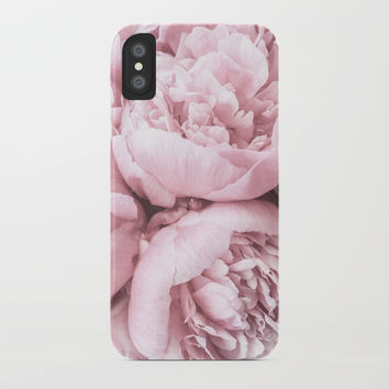 Lush Peony Flower iPhone Case by ginajessicasmith