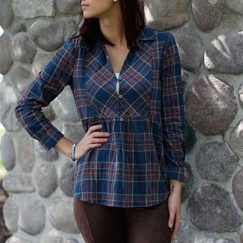 Peplum Plaid Button Up Top - Blue