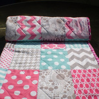 Baby quilt,Hot pink,teal,grey,aqua,Patchwork Crib quilt,baby girl bedding,baby girl blanket quilt,chevron,polka dots,bright colors,Pink Lady