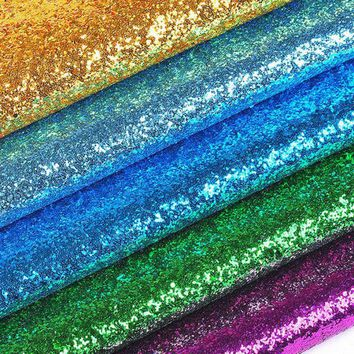 100x135cm Sequins Chunky Glitter Vinyl Fabric For Wedding Decoration,Textile Bags, Shoes Shinny Holographic Fabric 1 Meter