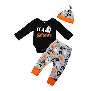 3Pcs Baby Boy Girl Halloween Clothes Set Infant Baby Unisex Cotton Tops Romper Pants Hat New Outfits Clothes Set