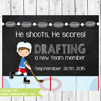 Hockey Pregnancy Announcement Chalkboard // Hockey Pregnancy Reveal Photo Prop // DIY edit with ADOBE READER