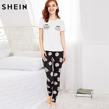 SHEIN Cute Sleepwear Womens Pajama Set