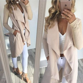 Long Irregular Nude Coat