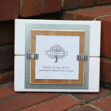 4x4 Picture Frame - Instagram Frame - Distressed Wood Edges - Double Mats - White, Metal & Natural Wood