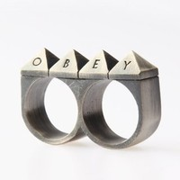Obey Women's 25 Hour Double Knuckle Studded Ring - Antique Silver